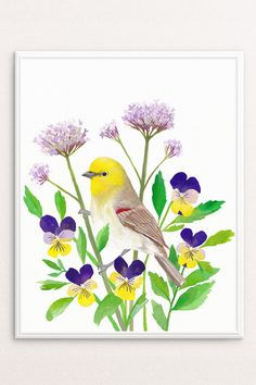 Bird and flowers, gouache & watercolour painting | Printable Art Bright Wall Art Colorful Artwork by PRINTSPIRING