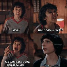 Mike who is alarm clock and why did she call you at 5 a. Funny stranger things meme Mike who is alarm clock and why did she call you at 5 a. Stranger Things Quote, Stranger Things Actors, Stranger Things Have Happened, Stranger Things Aesthetic, Eleven Stranger Things, Stranger Things Season, Stranger Things Netflix, Stranger Things Halloween, Fb Memes