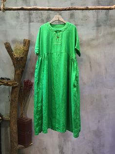 High-Quality Plus Size Hand Embroidered Dress Linen Chinese Dress    #green #embroidery #linen #Chinese #dress #summer #boutique