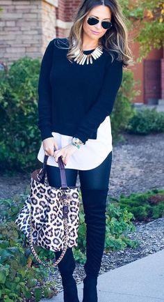 #winter #fashion / Camisa Negro recortada Top + blanco