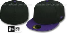 New Era '2T 59FIFTY-BLANK' Black-Purple Fitted Hat : pictured without stickers that these products are shipped with