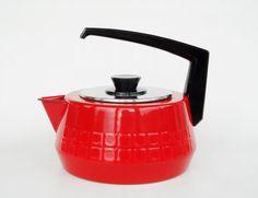 Stunning Silit water tea kettle stovetop op art design enamel midcentury modern retro vintage red black West Germany pan