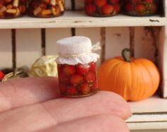 mermelada de fresa y cal 3 Casa de Muñecas en Miniatura tarros de miel