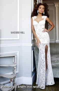 Prom dress by Sherri Hill 4316 can also be worn as an informal wedding dress or for a winning pageant look. White lace over short nude lining, front side slit and open neckline of sheer illusion with cap sleeves. $550 @Sherri Hill #sherrihill #prom2014 #promdresses prom dresses prom dress  FaceBook Pinterest