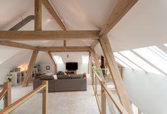 Loft Conversion Design, Timber Architecture, Attic Loft, Loft Spaces, Garden Structures, Open Plan Living, Contemporary, Living Room, Barn