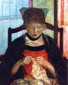 Bécassine au tricot par Frederick Carl Frieseke (1934) girl knitting