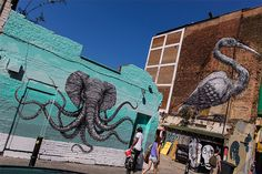 This awesome hybrid elephant-octopus was just completed this week by Puerto Rican artist Alexis Diaz. Comprised of thousands of tiny brushstrokes, the mural took a week to paint and you can see it yourself on Hanbury Street off Brick Lane