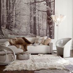 Inspiracje w moim mieszkaniu {Inspiration in my apartment}: Zimowa fototapeta we wnętrzu/ Winter Murals inside...