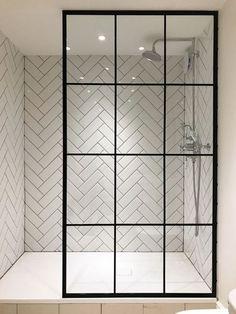 I'm in love with the herringbone tile and the amazing crittall shower screen from Creative Glass Studio in London Modern Bathroom Tile, Bathroom Interior Design, Master Bathroom, Attic Bathroom, Shower Bathroom, Glass Bathroom, Shower Window, White Bathroom, Master Shower