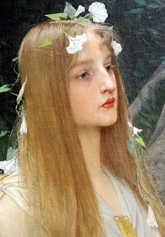 ⊰ Posing with Posies ⊱ paintings of women and flowers - Jules Joseph Lefebvre, detail of Ophelia