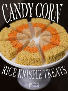 Halloween snack ideas: Candy Corn Rice Krispie Trick or Treat Halloween parties and scary masks everywhere tonight? Here's a delicious last minute Halloween recipe for your Hal… Halloween Snacks, Hallowen Food, Theme Halloween, Halloween Goodies, Halloween Candy, Halloween Diy, Halloween Stuff, Halloween Decorations, Halloween Ribbon
