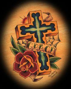 Grace Cross by Christopher Perrin Old School Tattoo Canvas Art Print – moodswingsonthenet