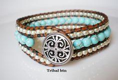 Türkis Schmuck Manschette Armband Leder von RopesofPearls auf Etsy