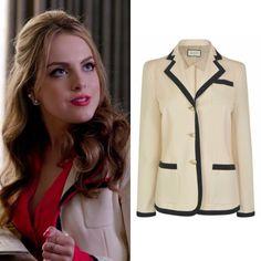 Fallon Carrington wears this Gucci web trim blazer on Dynasty 1x08