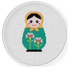 Buy 4 get 1 free ,Buy 6 get 2 free,Cross stitch pattern, Cross-StitchPDF,Carnation Russian Doll,Matryoshka Babushkas,zxxc0254. $4.50, via Etsy.