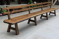 Custom Made Live Edge Barnwood Bench With Back Rest - 15' Long