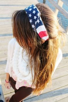 American flag bandana headband, perfect for summer and fourth of July!