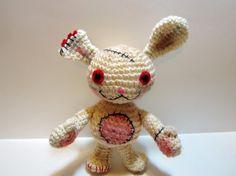 Dirty Bunny Crochet Doll  Amigurumi Bunny Toy  by MadebyJody666