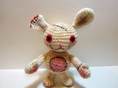 Dirty Bunny Crochet Doll  This cute little guy might have seen better days, but hes still got lots of love to give! Made to look distressed, (using