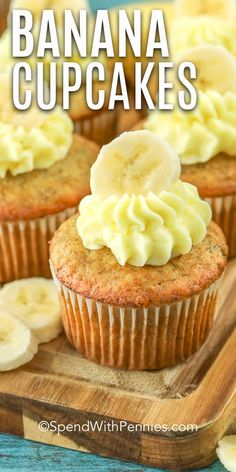 This easy banana cupcake recipe is a family favorite. Made from scratch, just like my grandpa, this recipe turns out moist and fluffy every time. Top with cream cheese frosting or my personal favorite Nutella icing. Banana Bread Cupcakes, Pumpkin Spice Cupcakes, Yummy Cupcakes, Lemon Cupcakes, Icing Cupcakes, Nutella Cupcakes, Mocha Cupcakes, Gourmet Cupcakes, Strawberry Cupcakes