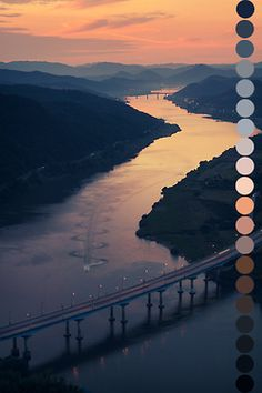 landscape orange black blue pink colors brown light blue g vertical color palette