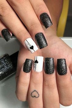 54 Elegant Black Nail Art Designs and Ideas Loading. 54 Elegant Black Nail Art Designs and Ideas Black Nail Designs, Winter Nail Designs, Winter Nail Art, Acrylic Nail Designs, Winter Nails, Acrylic Nails, Coffin Nails, Heart Nail Designs, Popular Nail Designs