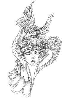 "Headgear Coloring Page - Buzzle.com Printable Templates | free sample | Join fb grown-up coloring group: ""I Like to Color! How 'Bout You?"" https://m.facebook.com/groups/1639475759652439/?ref=ts&fref=ts"