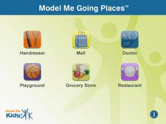 Model Me Going Places 2 by Model Me Kids, LLC.  iPad app with 6 social stories with real pictures.  Simple but useful.
