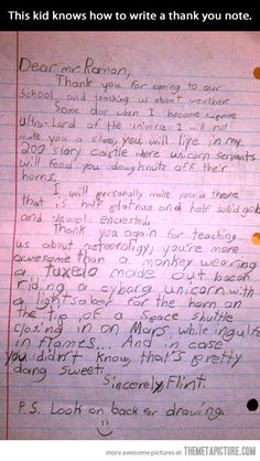 How to write a thank you note… this kid will be famous one day. Thank You Letter, Thank You Notes, Funny Letters, Kids Letters, Kids Writing, Creative Writing, Writing Lessons, Writing Skills, Funny Kids