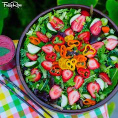 FullyRaw  -   The journey to self-love can be sweet! A FullyRaw Sweet Strawberry Salad! Mixed leafy greens topped with baby rainbow bells, cucumber, and strawberries with a side of strawberry tomato basil dressing! It all starts with a single bite...<3   -   Kristina Carrillo-Bucaram Rawfully Organic Co-op www.instagram.com/fullyrawkristina