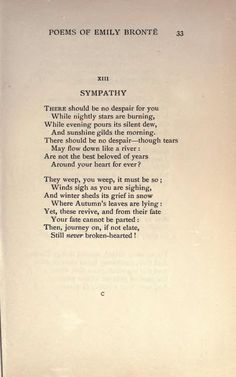 """Sympathy"" by Emily Bronte Beautiful Poetry, Beautiful Words, Nice Poetry, Emotion, Literary Quotes, Poem Quotes, Pretty Words, Pretty Names, Wise Words"