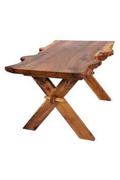Pictured table is already sold. Our tables are made individually to order.  We can make in this style from any wood so if oak/sycamore/cherry suits  your home better than the elm in the photo then please ask - we are  flexible.  Table top is made from two 45mm slabs of elm which are 'book matched',  meaning that each side mirrors the other in terms of knots and figuring.  They are sequential slices of the tree.  Legs are 45mm same thickness as the top.  Finish is tung oil....