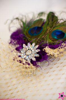 Wedding, Hair, Purple, Diy, Veil, Fascinator, Birdcage, Peacock
