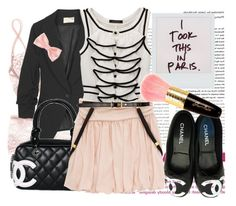 """""""I got tagged"""" by amandabellerogue ❤ liked on Polyvore featuring La Perla, Elizabeth and James, Chanel, Guerlain, Dorothy Perkins, boyfriend blazers, chanel, pink, black and chanel shoes"""