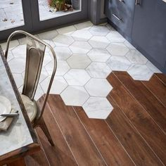 """""""Misty Fjord hexagon polished marble tiles with wood flooring. #flooring #marble #tiles…"""""""