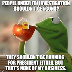 Hillary the Criminal | PEOPLE UNDER FBI INVESTIGATION SHOULDN'T GET GUNS? THEY SHOULDN'T BE RUNNING FOR PRESIDENT EITHER, BUT THAT'S NONE OF MY BUSINESS. | image tagged in memes,but thats none of my business,kermit the frog,hillary clinton | made w/ Imgflip meme maker
