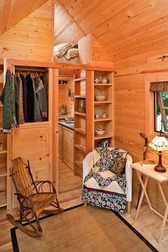 Small Home Decorating Ideas - Tumbleweed Tiny House - Country Living; The house-on-wheels, which is available to rent, took five months of full-time work for Brittany to build. Tiny House Trailer, Tiny House Plans, Tiny House On Wheels, Inside Tiny Houses, House Inside, Tiny House Movement, Small Space Living, Tiny Living, Living Area