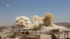 GUERRA NA SÍRIA - GRANDES EXPLOSÕES - BOMBAS CAINDO SOBRE DARAYYA