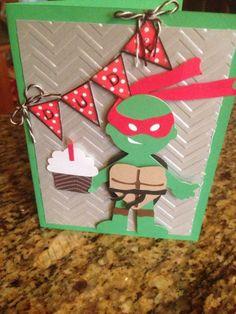 Roses World Teenage Mutant Ninja Turtles birthday card My