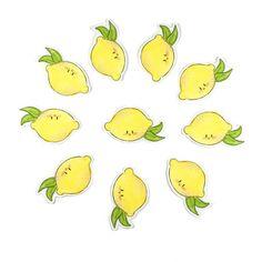 The Watercolorie - Kawaii Lemon sticker pack- kawaii illustration - cute sticker pack - kawaii planner stickers - cute christmas gift - lemon stickers - planner stickers