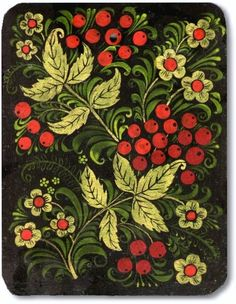 A wooden chopping board is decorated with Russian folk Khokhloma painting. A floral pattern with ashberries in black, red and golden colours.