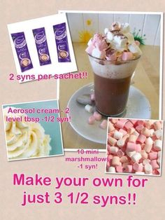 Slimming World hot chocolate astuce recette minceur girl world world recipes world snacks Slimming World Sweets, Slimming World Puddings, Slimming World Tips, Slimming World Recipes, Slimming Aids, Low Syn Treats, Sliming World, Marshmallows, Hot Chocolate