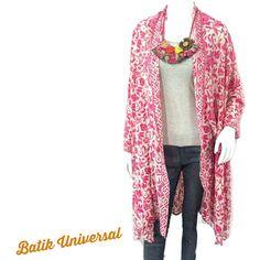 4ce7c500787 LOUIS Long Sleeve Kimono Batik Flower Hot Pink.Handmade Batik outerwear  officewear moeslemwear.Bohemian Hippie Tunic Batik Beachwear Summer