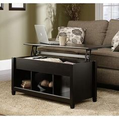 SAUDER Edge Water Collection Estate Black Rectangle Lift-Top Coffee Table-414856 - The Home Depot
