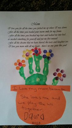 Mother's Day preschool activity - think would use a more kiddy poem at the top too :)