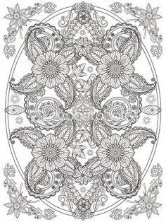 Página para colorear de flores — Vector de stock