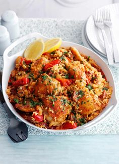Baked rice with chicken and chorizo