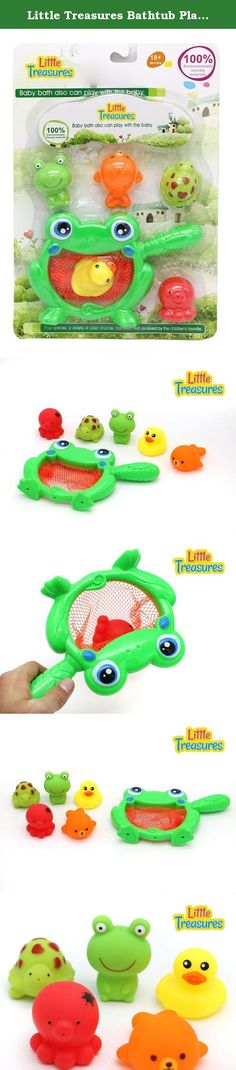 Little Treasures Bathtub Playtime Fishing Net Toy - Ocean Life Bath Toys for Babies of Age 18+ Months Toddlers. Little treasure ocean life toy set consists of water squeezing smiley frog, turtle, octopus, duckling, sea lion and a huge bull frog shaped net. Kids willingly jump into bath tub to play with their favorite sea animals chasing them with bull frog to catch them, one who catches all in timed limit is a winner and gets a treat with bath time fun for free. Make your kids swooshed...