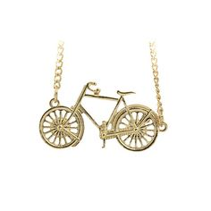 """Bicycle necklace for a cute and fun type of day. Made of gold plated chain and bicycle pendant. Length: 16""""+3"""" Pendant Size:0.8""""x1.5"""""""