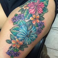 Top 50 hibiscus tattoos on the thigh in different styles – floral tattoo sleeve Tropical Flower Tattoos, Colorful Flower Tattoo, Lily Flower Tattoos, Floral Thigh Tattoos, Beautiful Flower Tattoos, Tattoo Thigh, Beautiful Flowers, Frangipani Tattoo, Hibiscus Tattoo